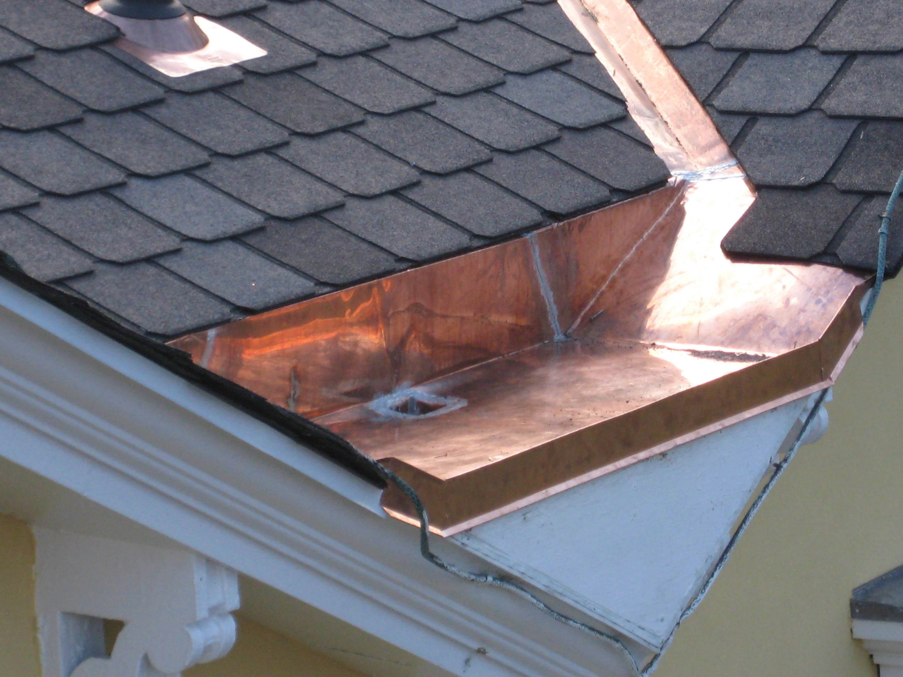 Soldered Copper Gusset With Eave Tube Custom Roofing