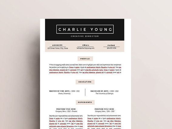 Resume Template 4pk CV Template + Cover Letter for MS Word - resume template