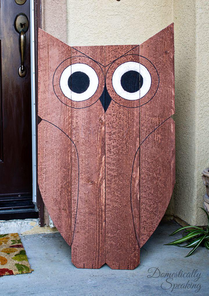 Wood Owl Outdoor Decor