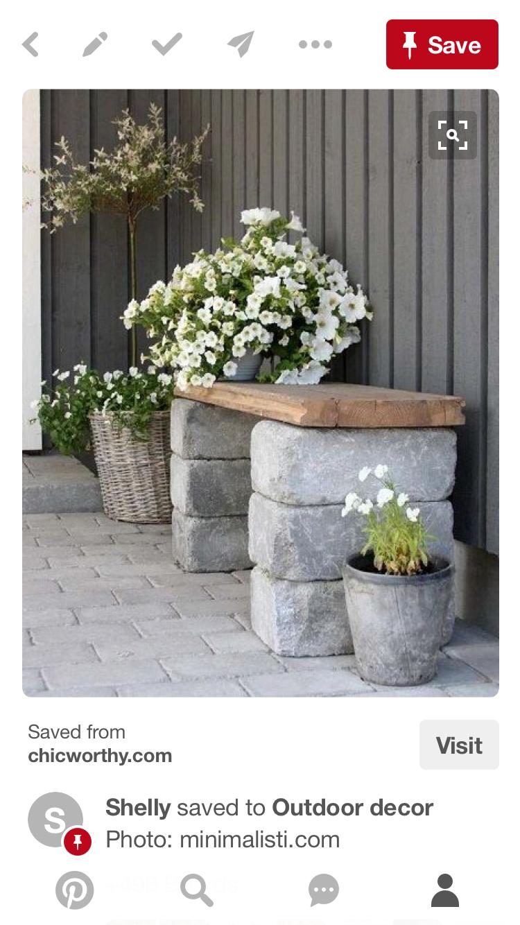 Sardinian Stone Wooden Slab Bench Side Of New Shed Diy Garden Benches Outdoor Diy Bench Diy Garden Seating Garden Seats Diy