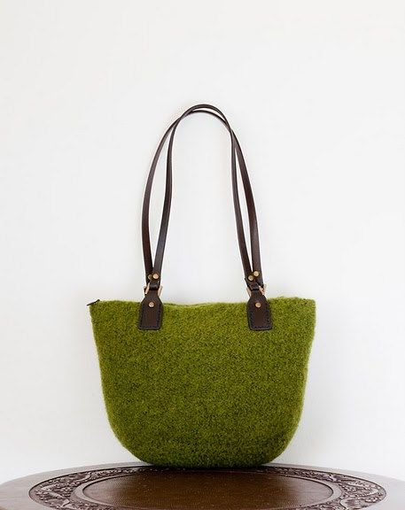 Everything Good is Green - Cashmere Felted Purse in Moss Green with ...