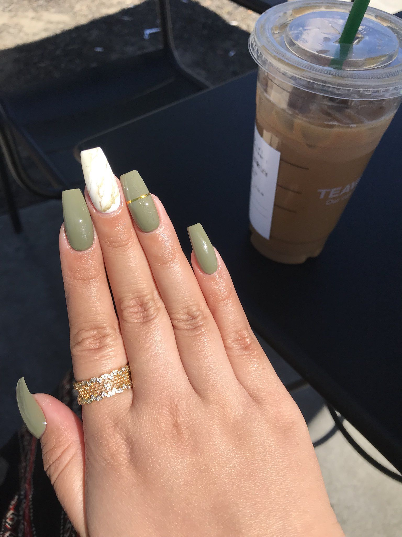 Check Out Simonelovee Cute Acrylic Nails Green Nails Olive Nails