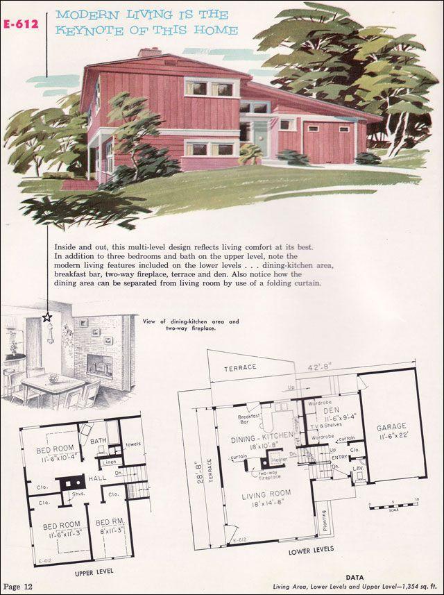 1955 Split Level Midcentury Modern Floor Plan Mid Century House Vintage House Plans New House Plans