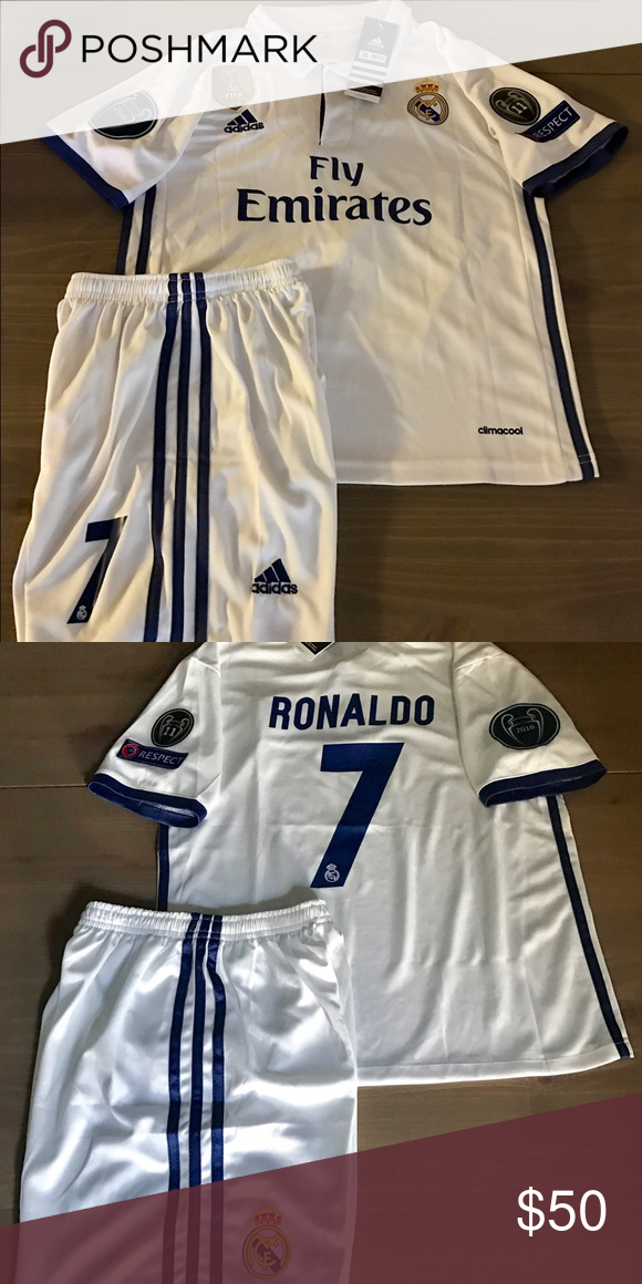 155a223d Kids Real Madrid white Ronaldo #7 adidas soccer Kids kit Real Madrid 16/17  New season home white Ronaldo #7 champions league and Gold fifa patch  adidas ...