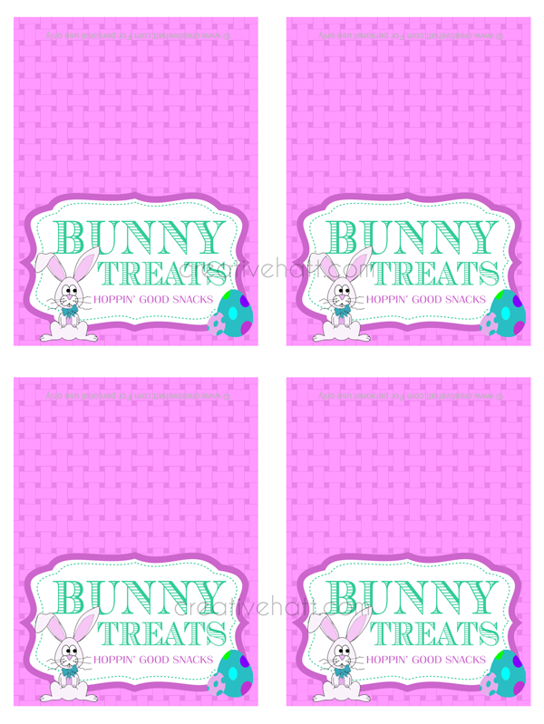 Easter bunny treat gift tags free printables easter spring easter bunny treat gift tags free printables negle Images