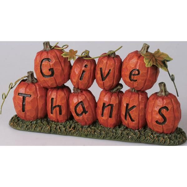 "Transpac Imports Inc. ""Give Thanks"" Pumpkin Figurine"
