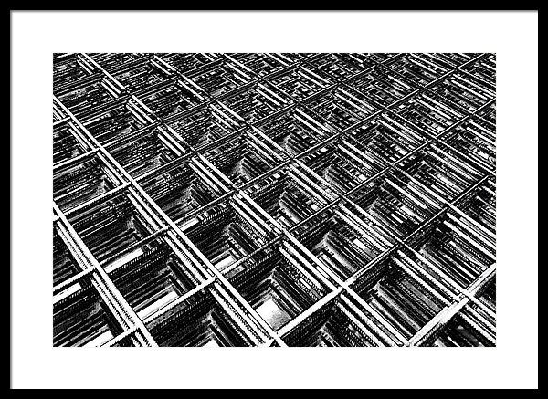 Black and white framed print featuring the photograph rebar on rebar industrial abstract by karen