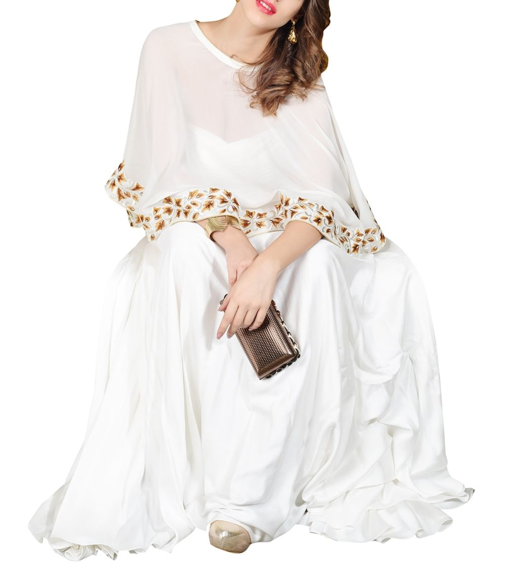 Off White Satin & Georgette Embroidered Gown With Cape #indianroots #fusionwear #gown #georgette #satin #embroidered