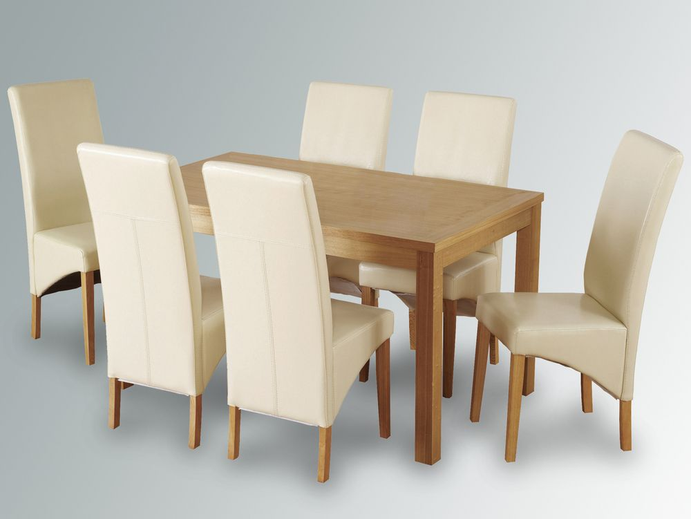 seconique belgravia 150cm oak dining table and 6 cream faux leather