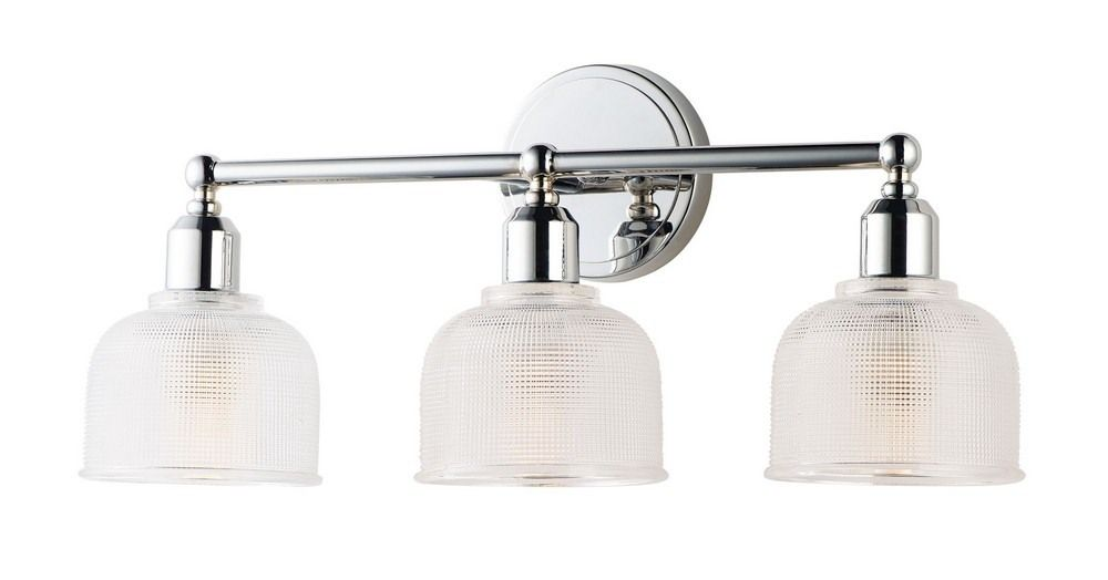 Photo of Hollow 3 Light  Bath Vanity Approved for Damp Locations  Polished Chrome Finish with Clear Glass