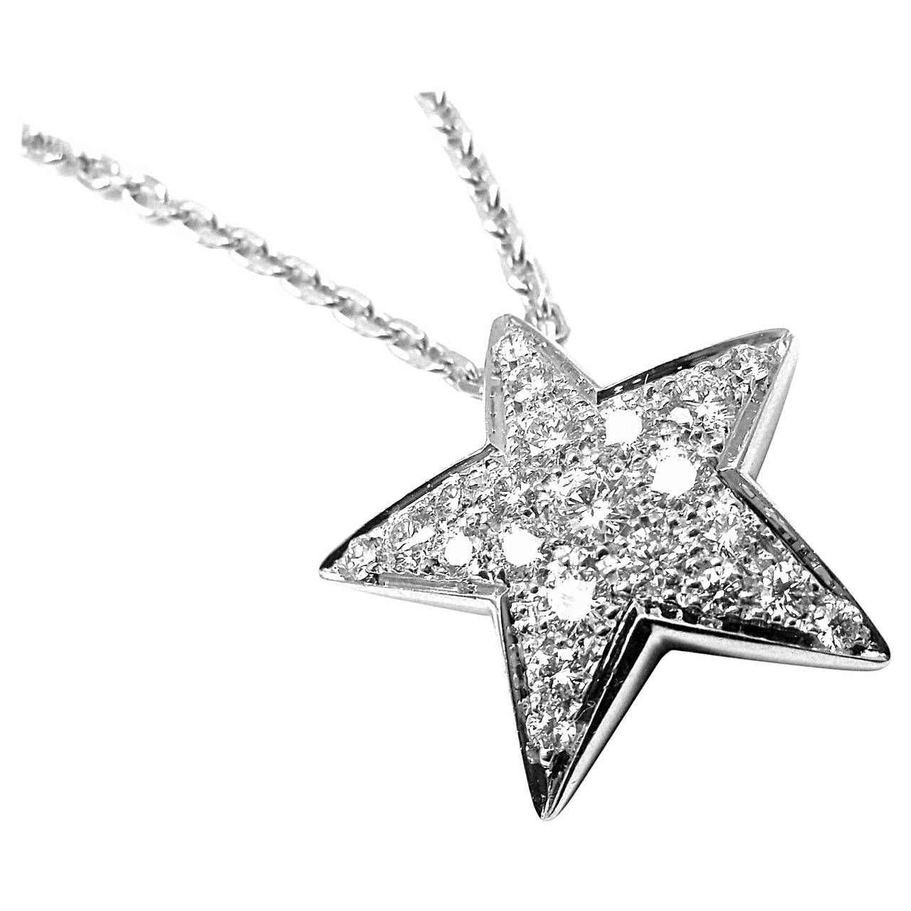 Chanel comete large diamond gold star pendant necklace star chanel comete large diamond gold star pendant necklace aloadofball Images