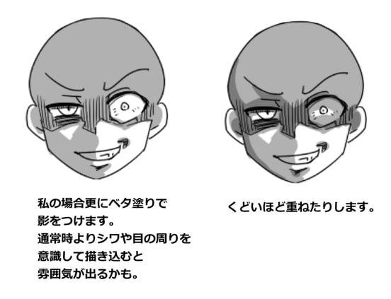 怖い顔ゲス顔の表情の描き方をイラスト解説目や口シワの特徴を掴ん