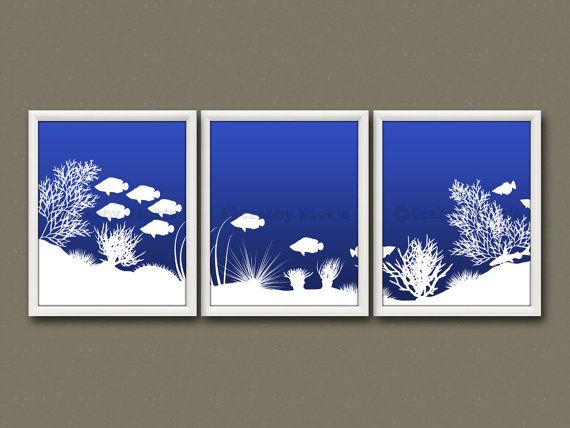 8x10 (3) NURSERY UNDERWATER SCENE Prints - Nursery Art, Nursery Decor, Children's Art, Nautical - Underwater Panorama