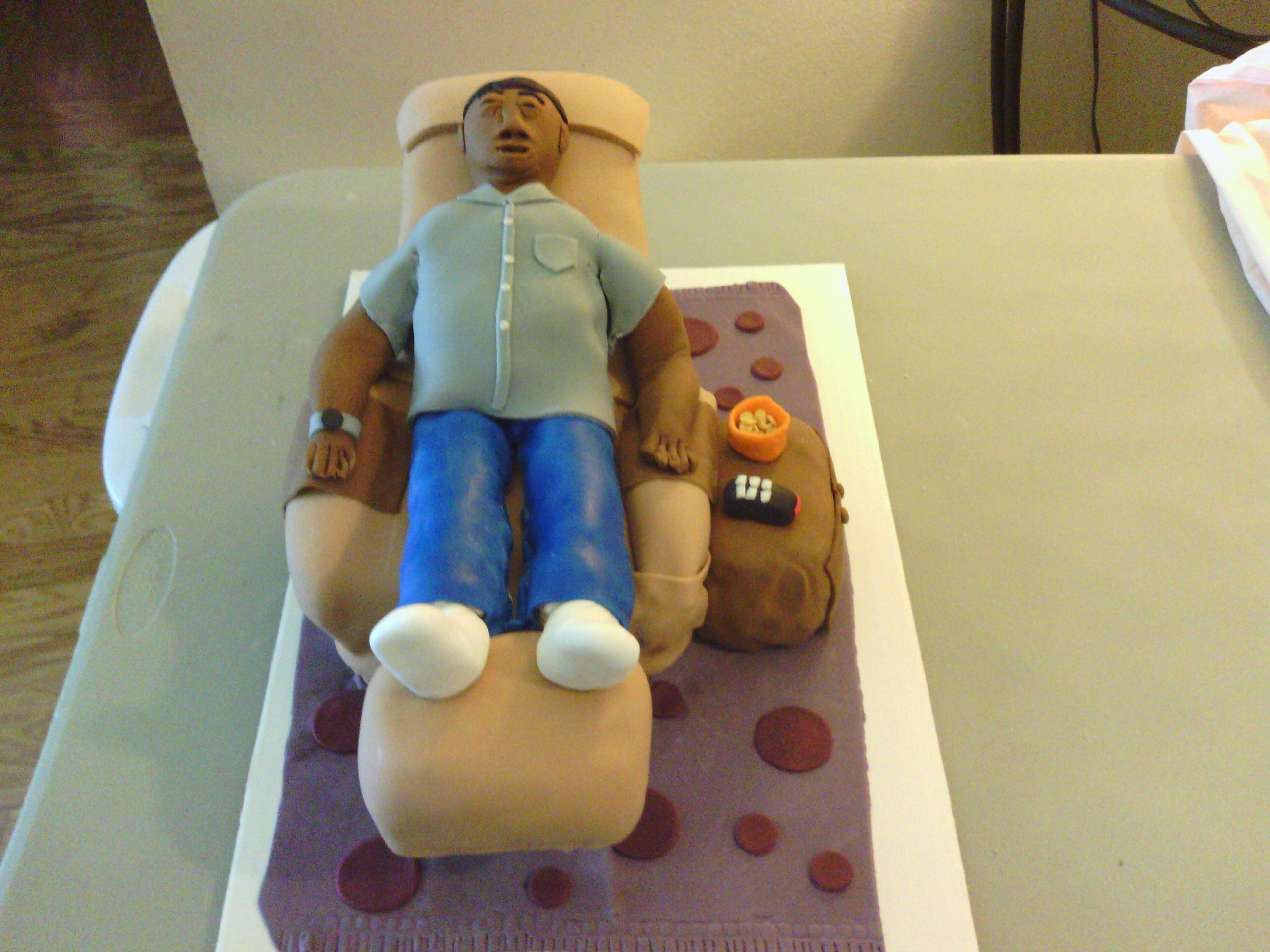 Man Sleeping in recliner cake My Own Cakes