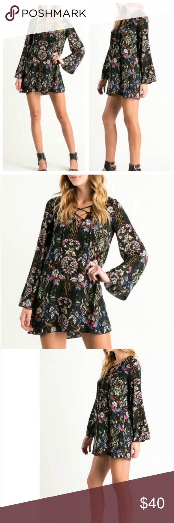 The Nora Lace Up Floral Print Tunic Dress Feminine eastern influence flower tunic with lace-up front, bell sleeves and a flowy swing. Brand, The Hanger Runs Small 100% Rayon Size & Fit Loose fit intended. Model is wearing size small. Model's height 5'9, bust 32, waist 23, hips 33. The Hanger Dresses Mini