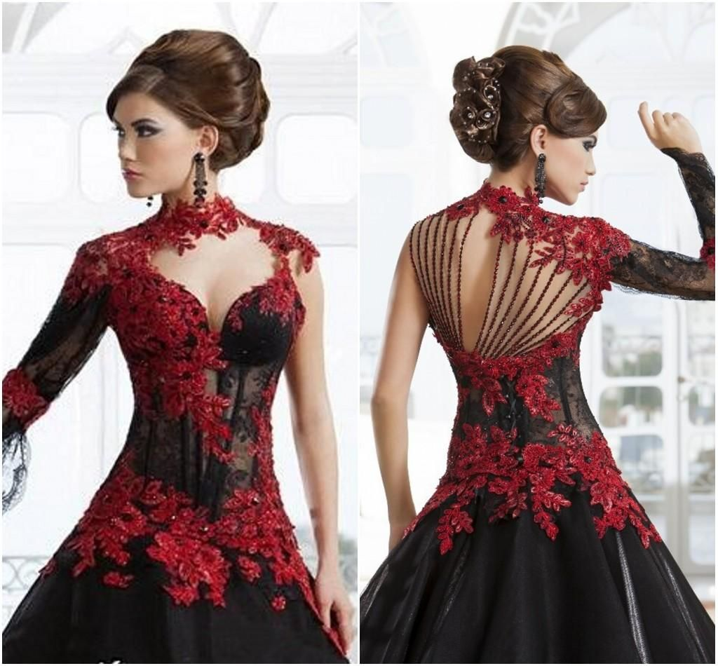702c85591dc34 The Perfect Wedding Dress Black And Red Lace Wedding Dresses Ball ...