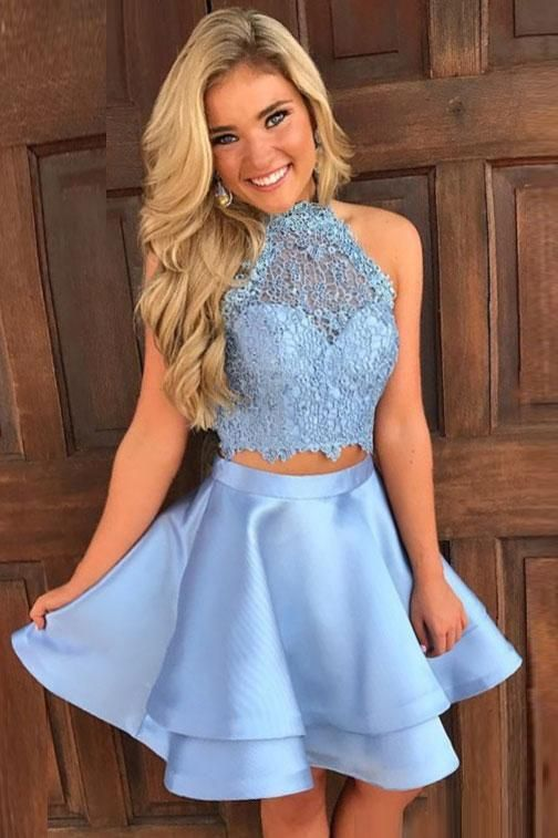 Princess Halter 2 Piece A-line Open Back Sleeveless Lace Mini Short Homecoming Dress #homecomingdresses