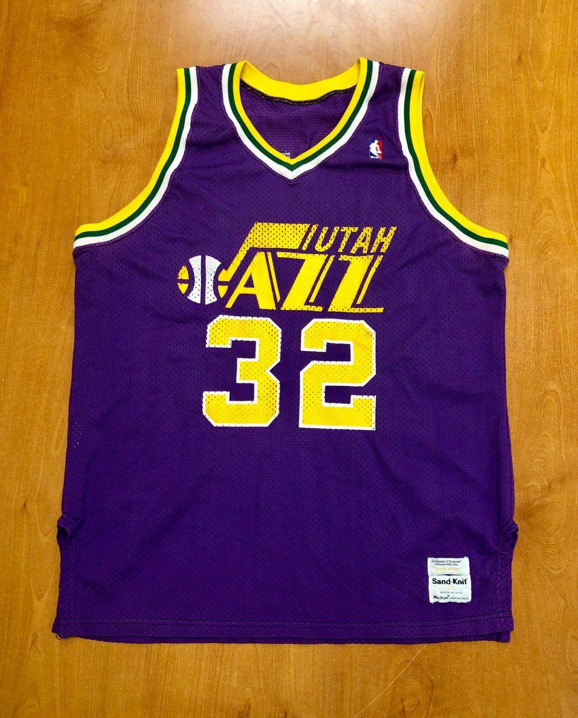 e443469a6f5d60 Vintage 1980s Karl Malone Utah Jazz Sand Knit Authentic Jersey Size 46 pete  maravich andrei kirilenko new orleans nba finals champion by  BroadwayVintageLLC ...