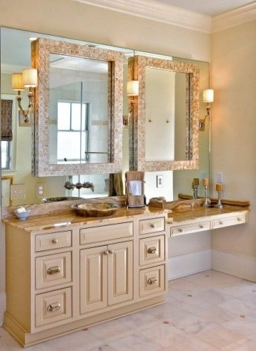 Not My Colors Like The Built In Makeup Area 2 Mirrors 3 Sconces Floatin Look Decorative Bathroom Mirrors Traditional Bathroom Bathroom Mirror Design