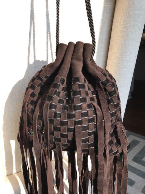 Authentic BOTTEGA Veneta Intrecciato Woven Handbag Suede Fringe Bag Purse  Satche  24b2cd2e8a6d8