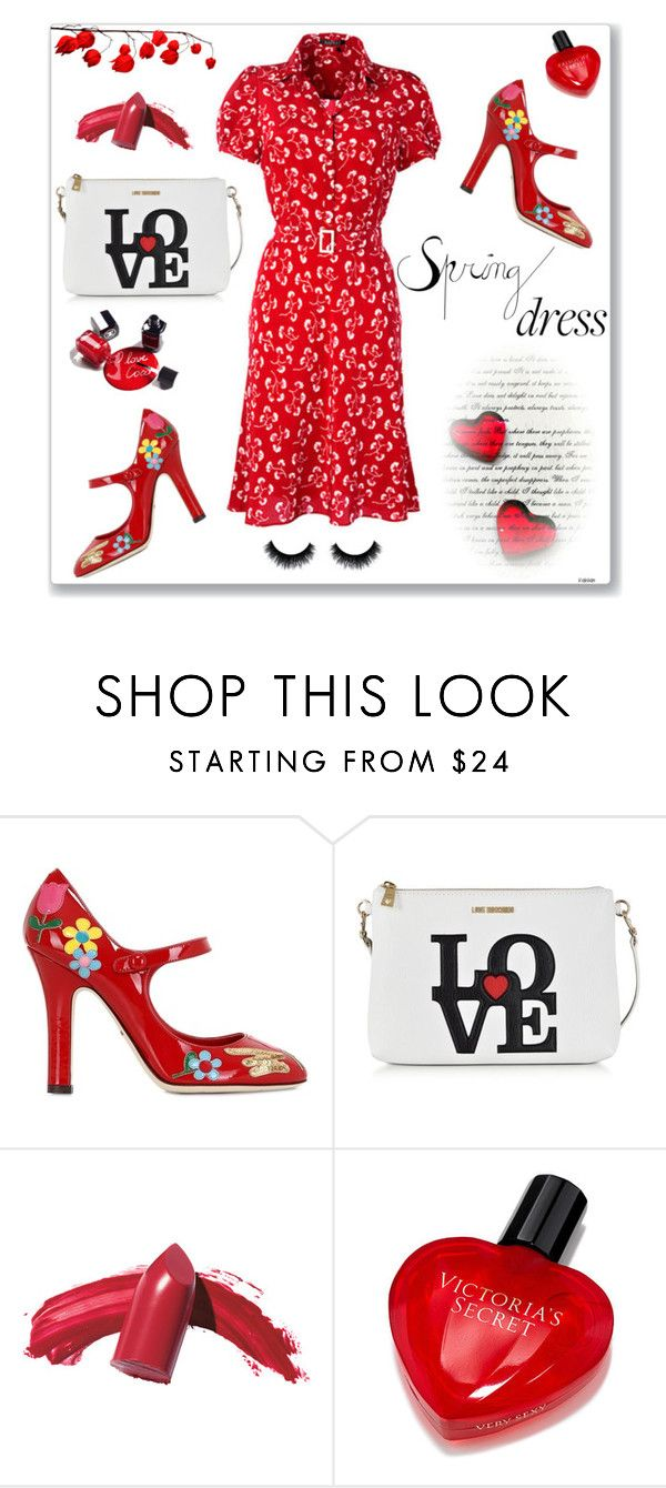 """""""Red passion"""" by dorinela-hamamci ❤ liked on Polyvore featuring Dolce&Gabbana, Moschino, Chanel, Elizabeth Arden, Victoria's Secret, polyvorecontest, polyvoreditorial and springdress"""