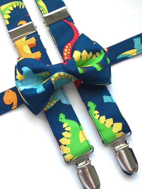 214146d8043b Dinosaurs Suspenders/ Bow Tie Set! Kids Dinosaurs Bow Tie. Dinosaurs  Suspenders.