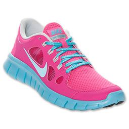 Girls Grade School Nike Free Run 5 Running Shoes  FinishLine.com  Pure  PlatinumBluePink... cute! i can wear girls shoes too.. score!