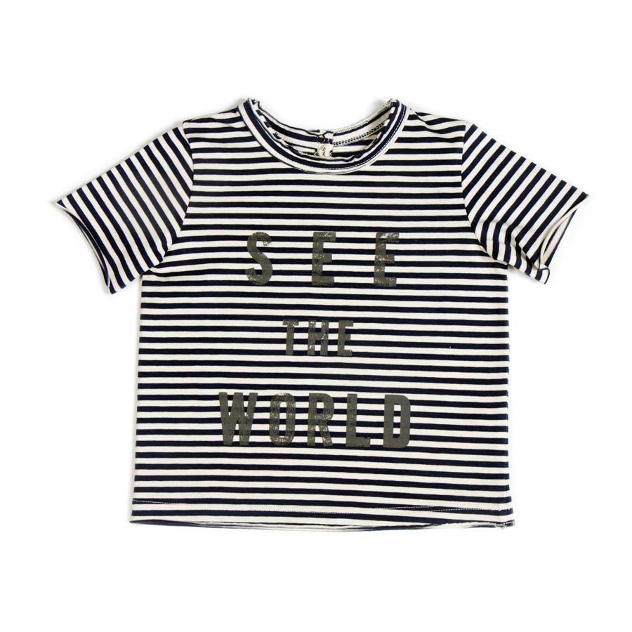 Da 12 mesi a 12 anni - Maschio - Maglia amanica corta in jersey di cotone a righe P/E 2016