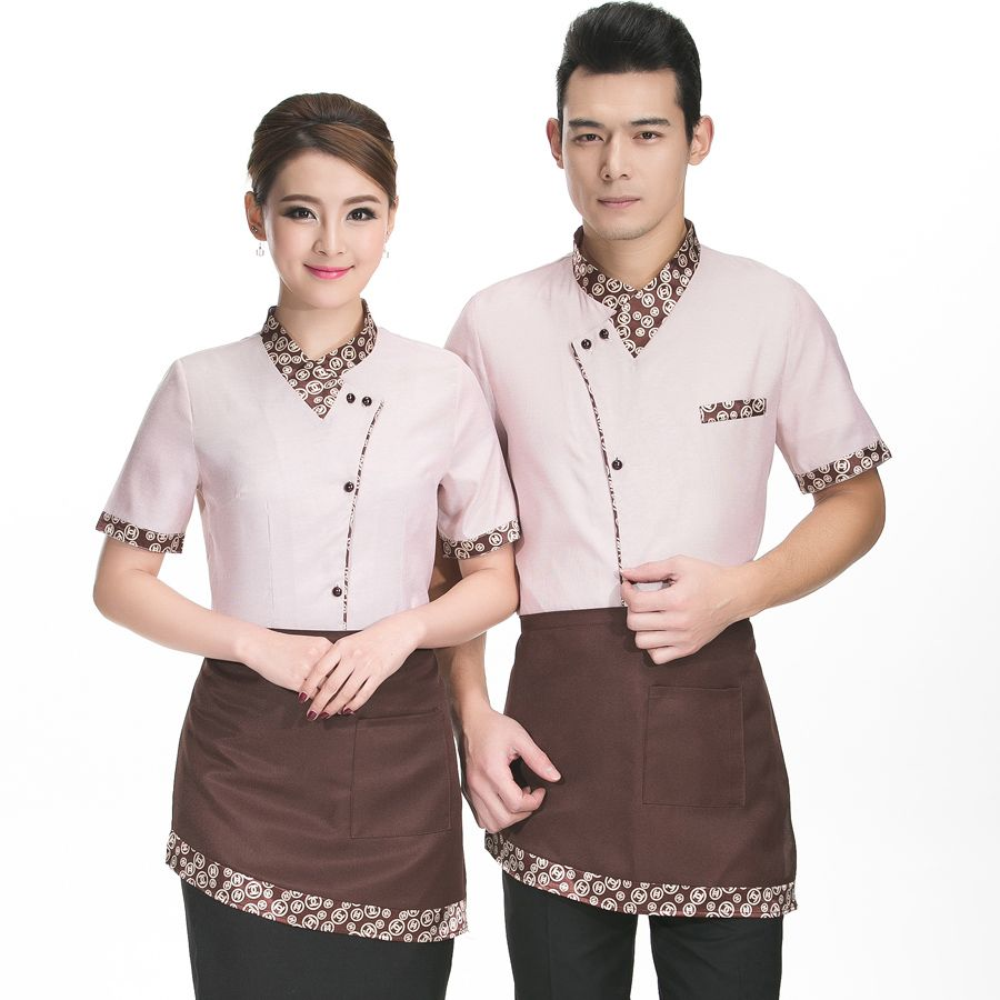 d398926a576 Hotel Waiter And Waitress Uniform Summer Female Fast Food Restaurant Cafe  Work Clothes Short Sleeved Shirt Overalls V140