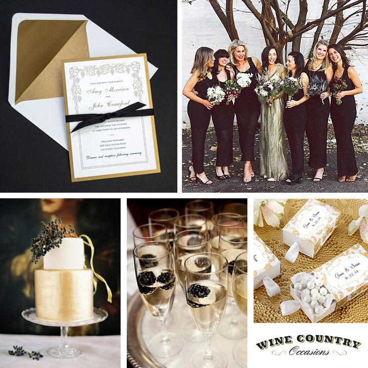 Black White And Gold Vineyard Wedding Inspiration With Invitations Damask Favor