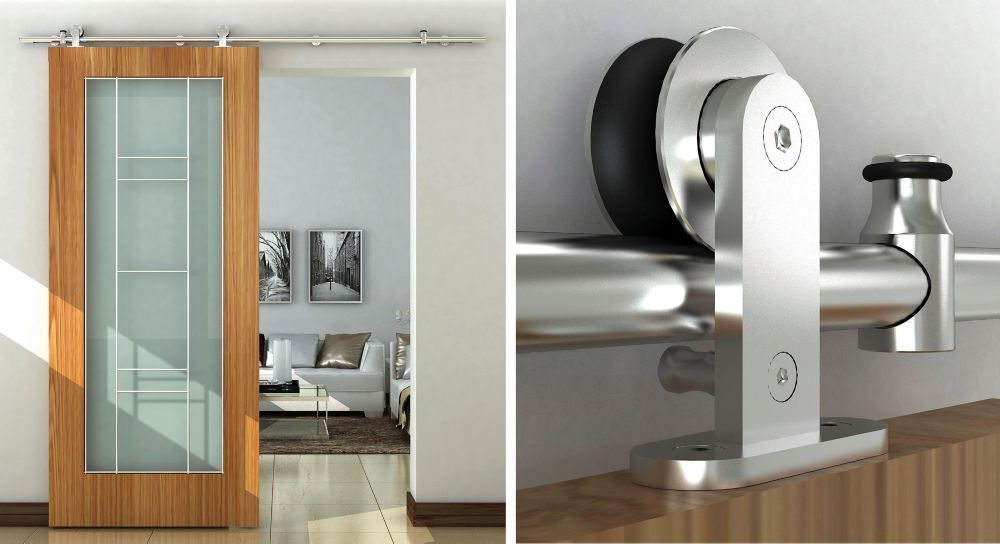 syst me de rail apparent d coratif pour porte coulissante. Black Bedroom Furniture Sets. Home Design Ideas