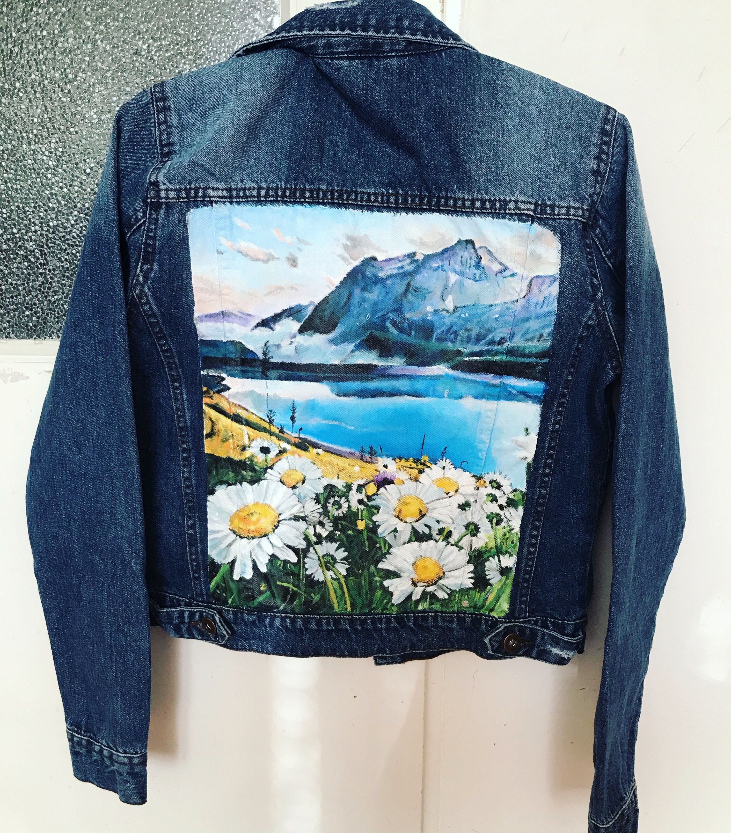 Oopsy Daisy Hand Painted Denim Jacket Painted Clothes Diy Hand Painted Denim Jacket Painted Jacket [ 3446 x 3024 Pixel ]