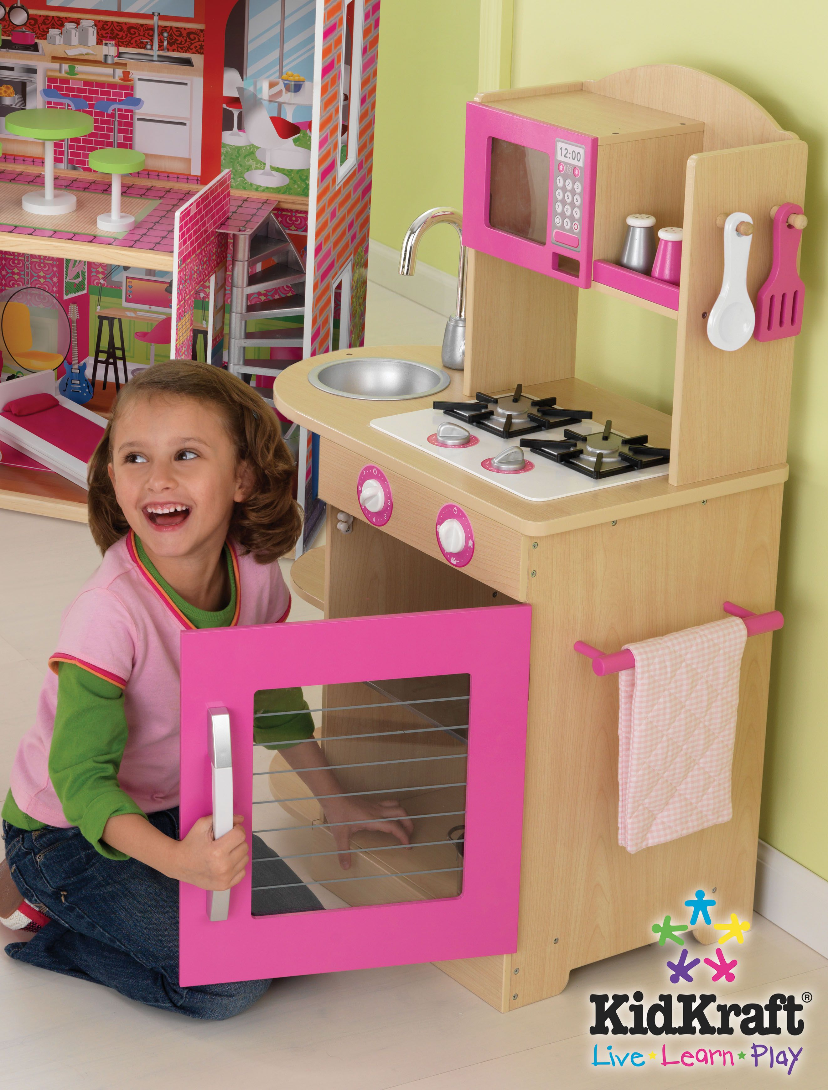 Kids Kitchen Set Kidkraft Pink Wooden Kitchen For kids
