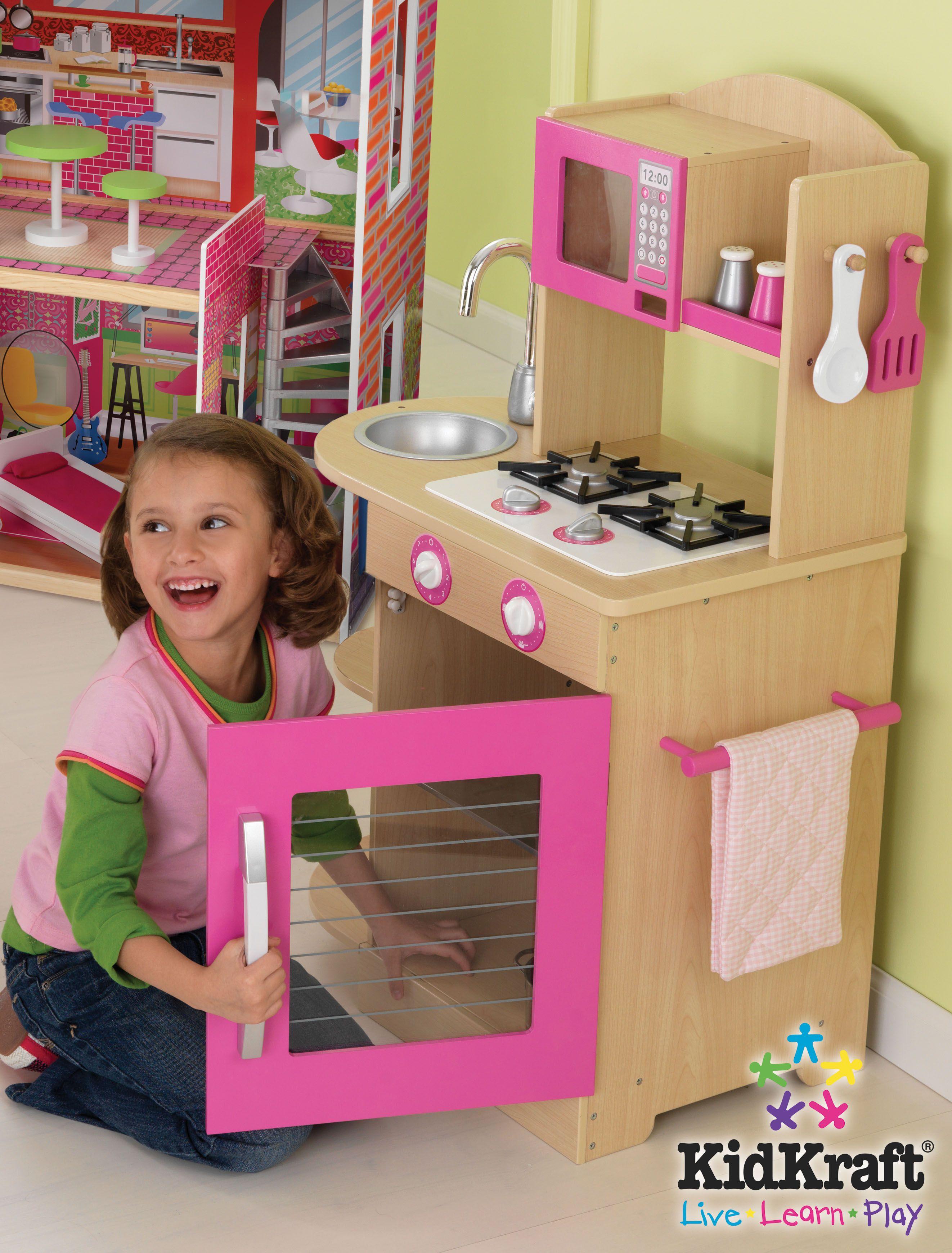 Kids Kitchen Set Kidkraft Pink Wooden For