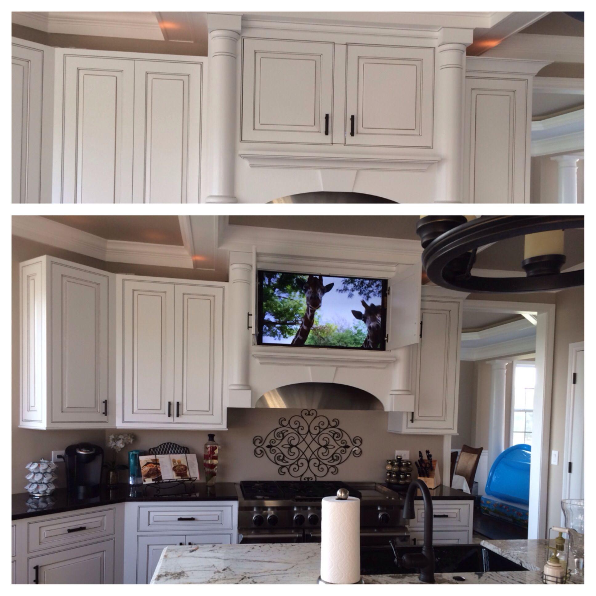 Hidden Tv In Kitchen Cabinet Kitchen Remodel White Cabinets With Black Glaze Tv In Kitchen Kitchen Remodel Kitchen