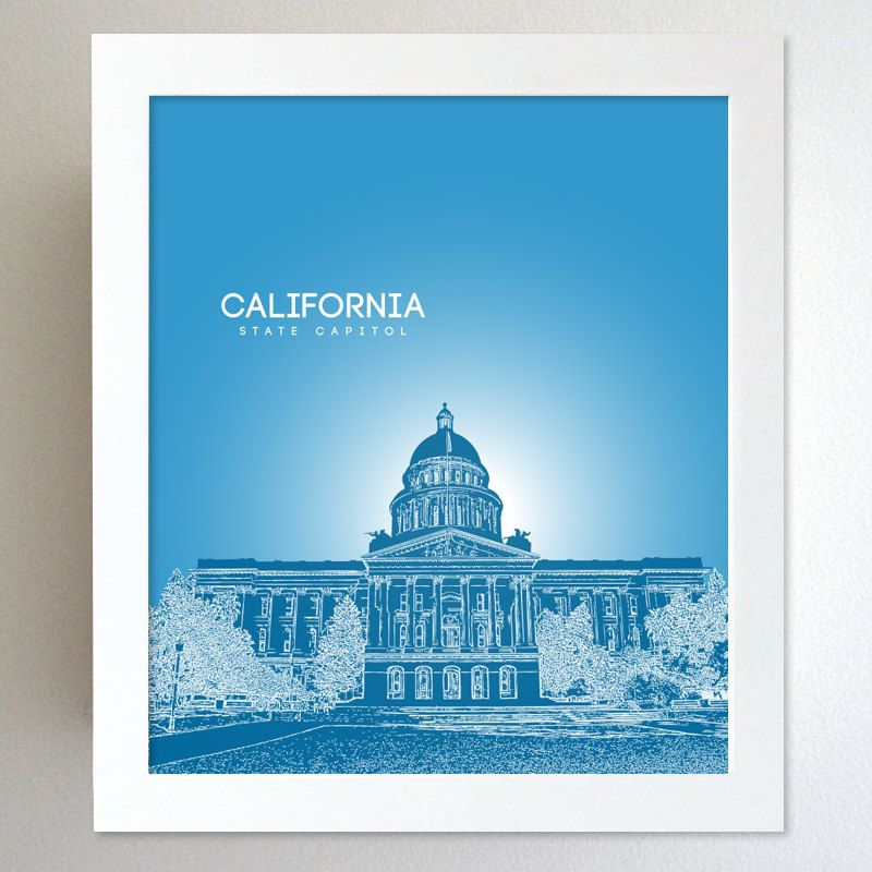 California Skyline State Capitol Landmark - Modern Gift Decor Art Poster 8x10. $20.00, via Etsy.