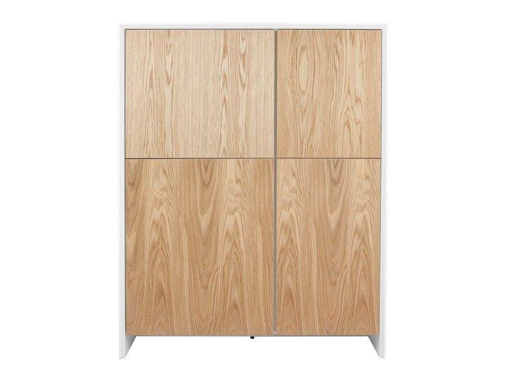 Das Wohnkonzept SMYKK Schrank Highboard Wohnzimmer 120 Eiche  Weiß