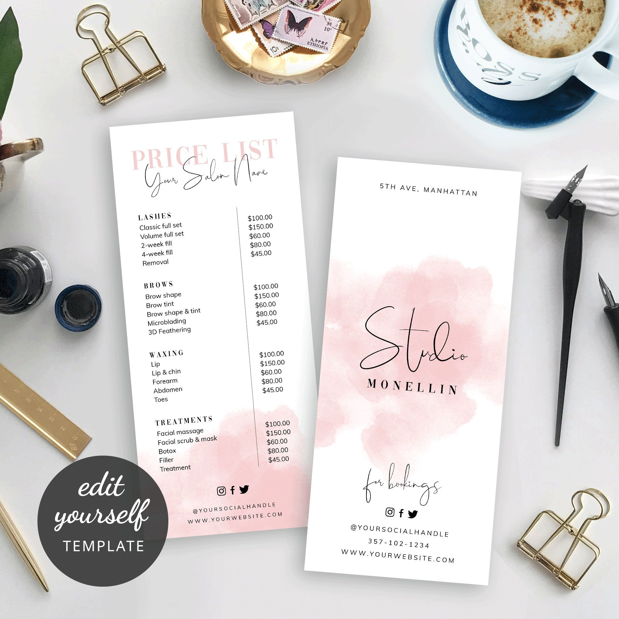 Diy Price List Template Printable Price List Design Beauty Etsy In 2020 Price List Design Photography Invoice Template List Design