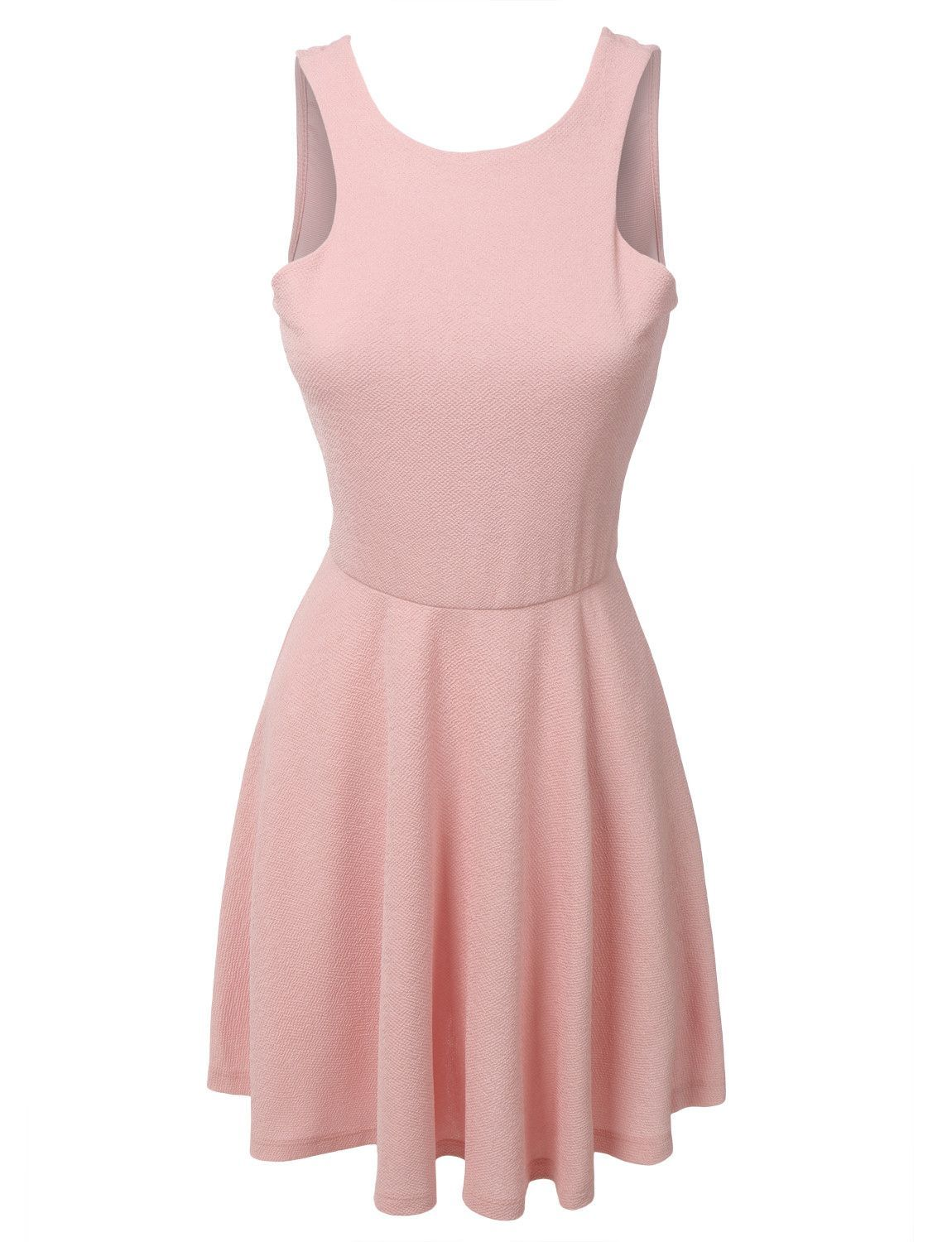 LE3NO Womens Sleeveless Skater Dress with Back Plunge Line (CLEARANCE)