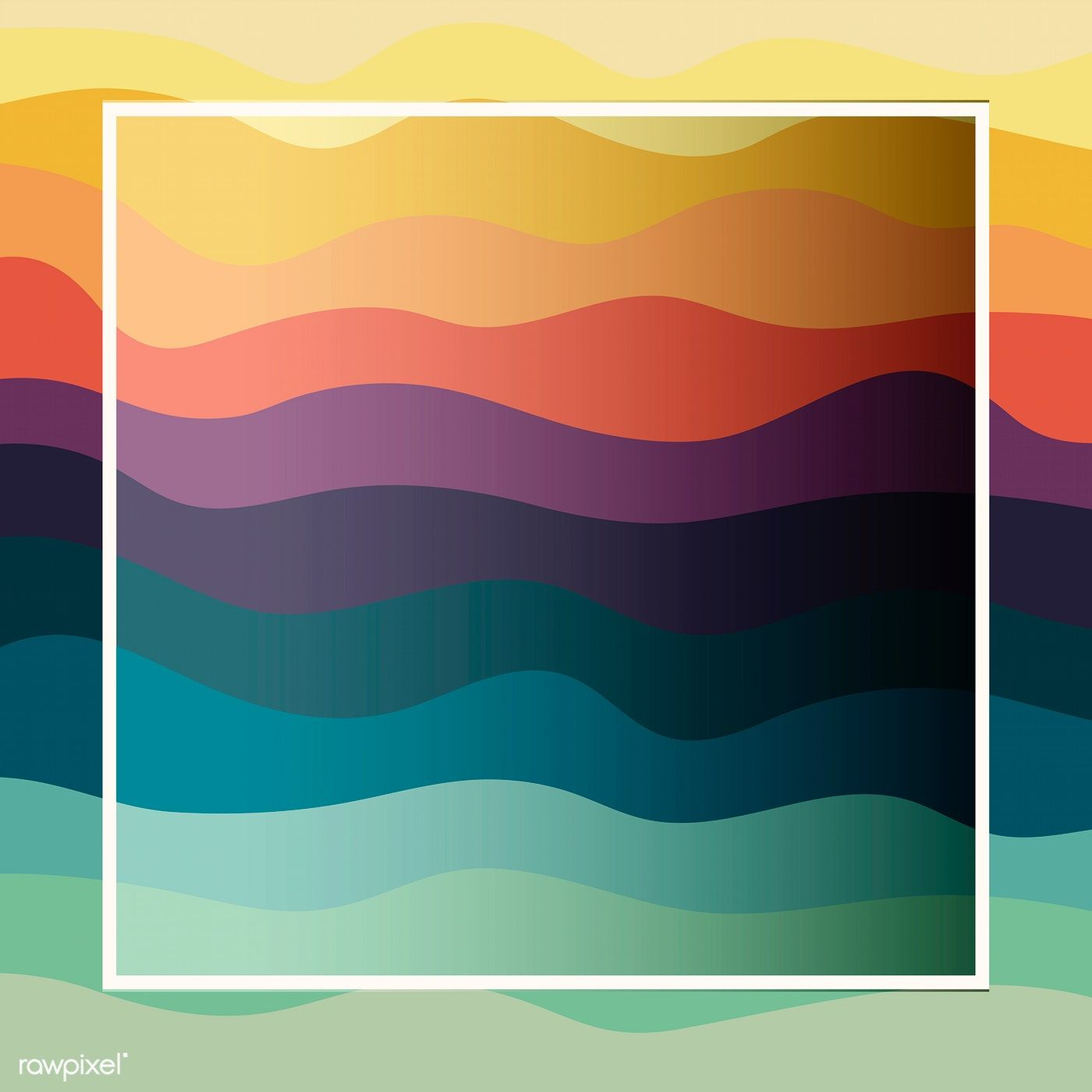Download premium vector of White frame colorful wave pattern background