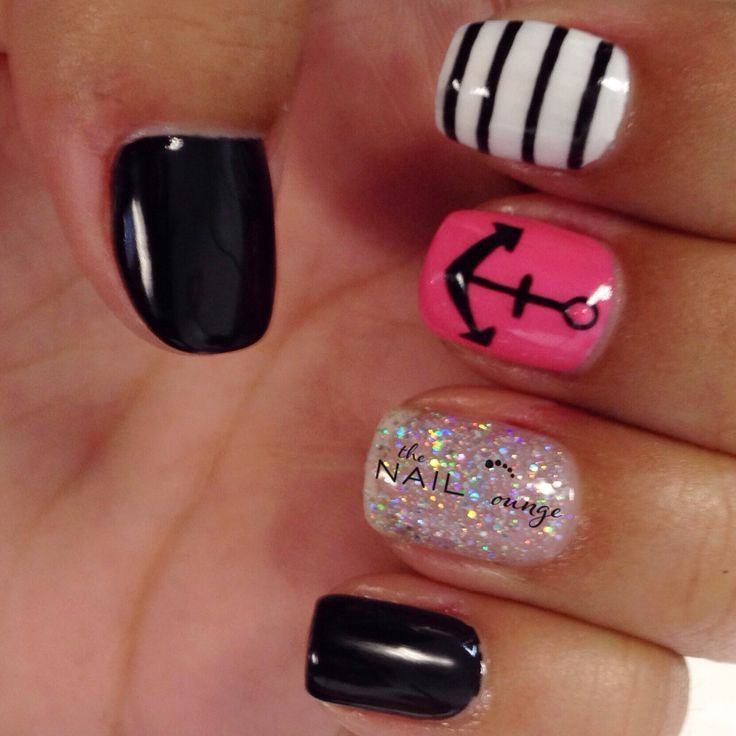 Anchor gel nail art design but just pink and the white and black stripe - Pink And Black Nautical Nails For More Fashion And Wedding