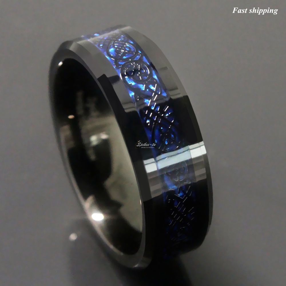 8//6mm Tungsten Carbide Ring Black Celtic Dragon Blue carbon fibre ATOP Jewelry