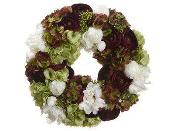 "Amazon.com - 20"" Silk Hydrangea, Ranunculus, Peony & Skimmia Flower Hanging Wreath -Eggplant/Green"
