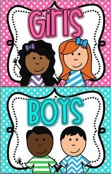 Boy and Girl Restroom Signs BRIGHT polka Dot