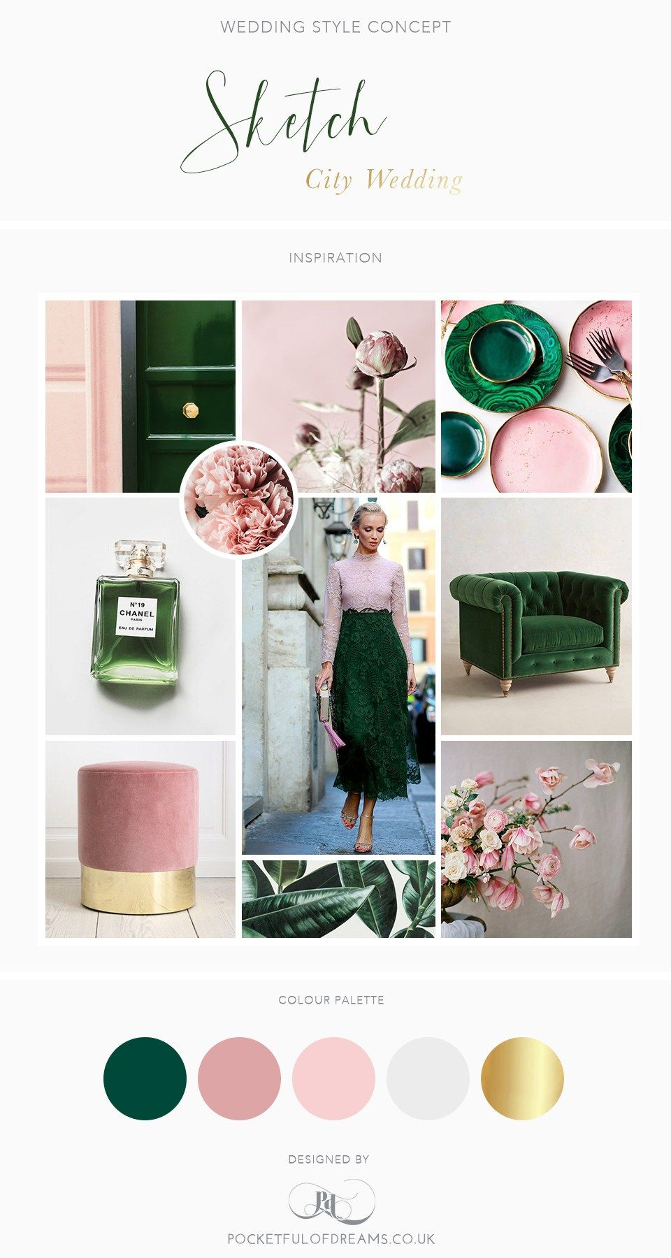 Bridal Inspiration Boards 87 Rose Quartz And Malachite - Grüne Kommode