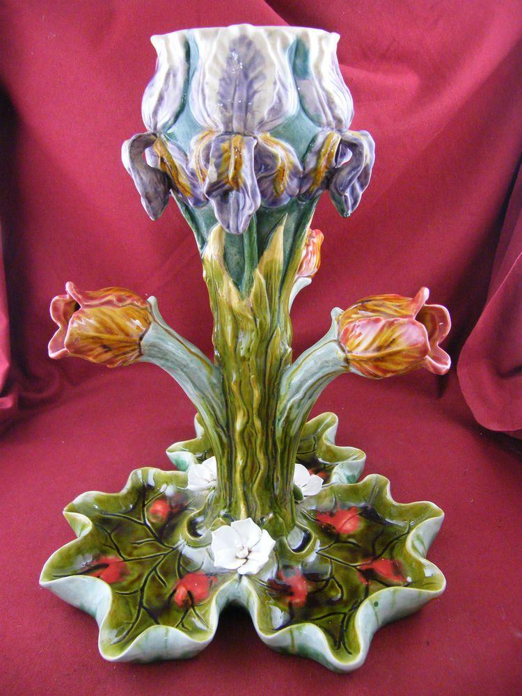 Rare Vase En Barbotine Sarreguemines Iris Tulipe N 233 Nuphar Majolica Majolique Majolica Ii