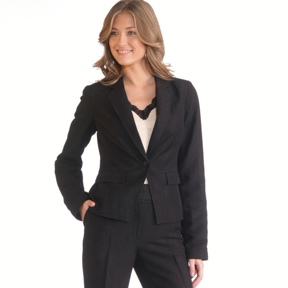 c835d09db77 ANNE WEYBURN Black linen blend fitted tailored blazer jacket UK 16 EU 44   AnneWeyburn  Blazer  Formal