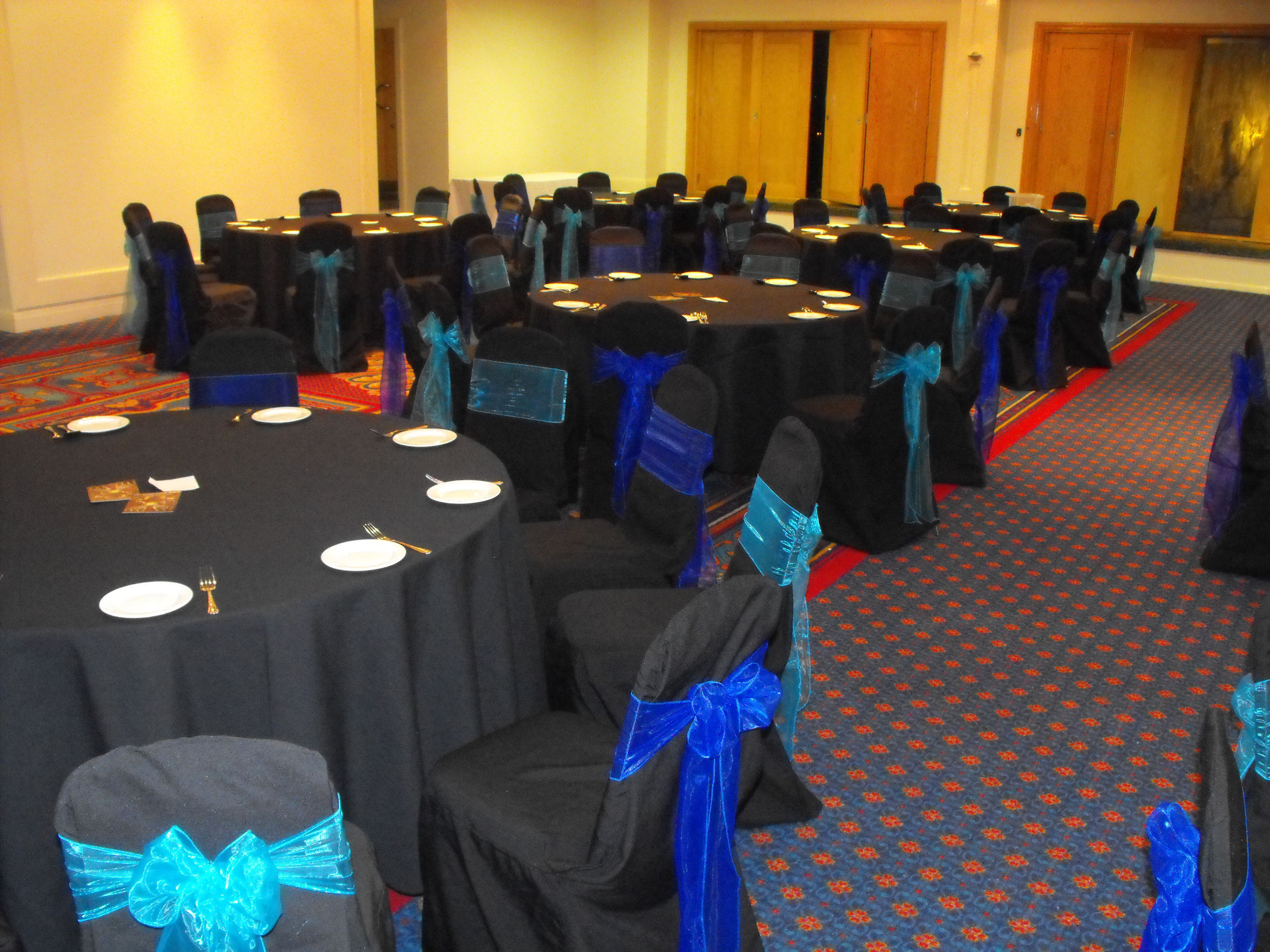 Alternating Turquoise and Royal Blue Organza Bows on Black Chair