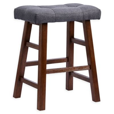 Padded 24 Saddle Bar Stool In Grey Dark Brown Dark Grey Dark
