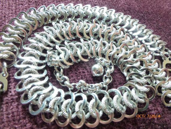 Silver tone Mesh Necklace and Bracelet Marked Made by PhiasJewels